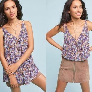 ANTHRO Pure + Good Julian Tie Sleeve Floral Top S